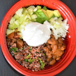 Red rice Pinto Beans taco bowl