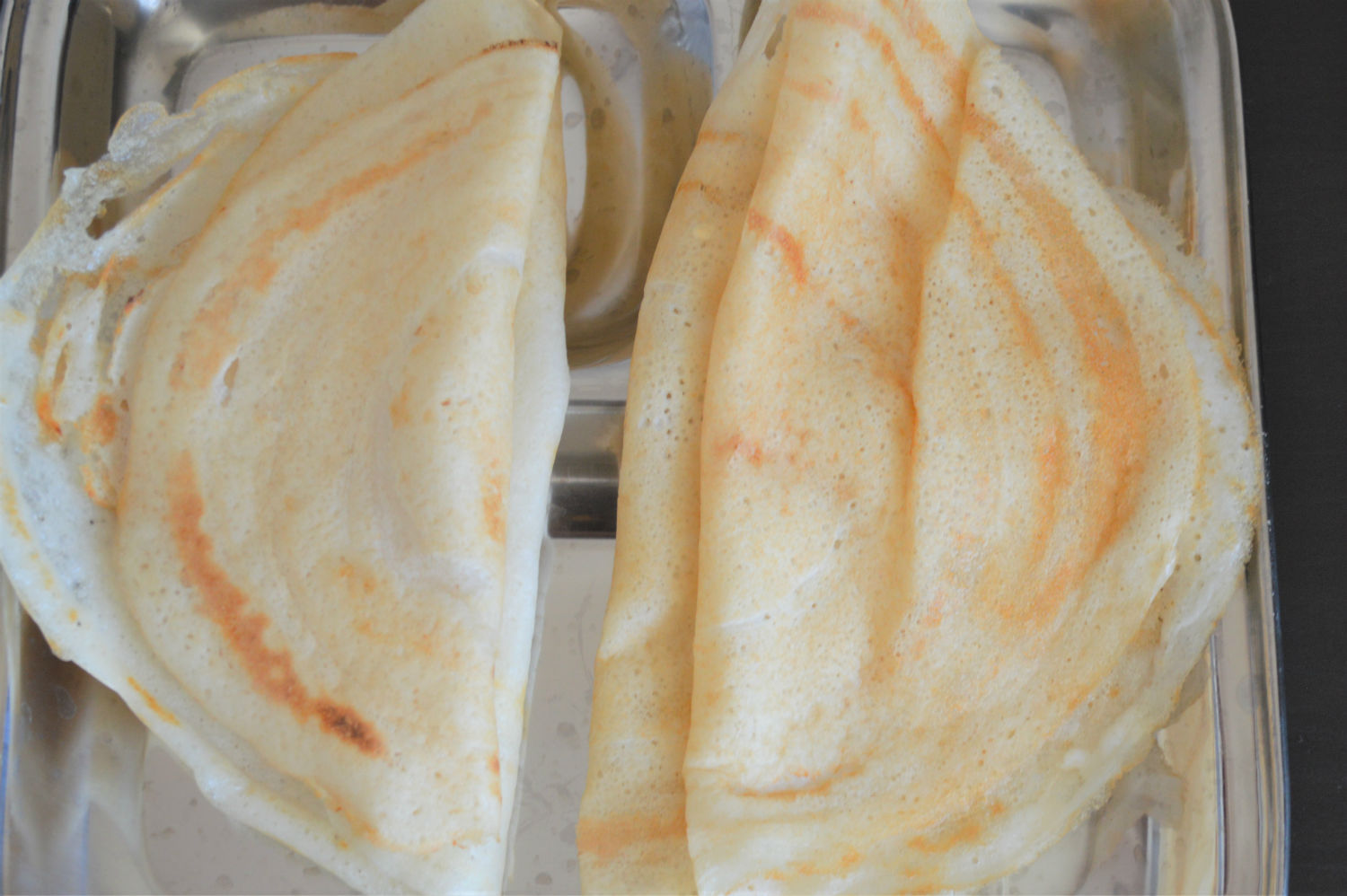 Dosas made with idli batter