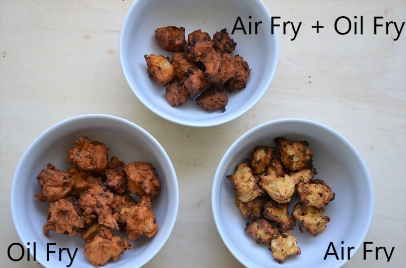 Pakoda made 3 ways - Deep Fried, Air Fried, Air fried + quick oil fry