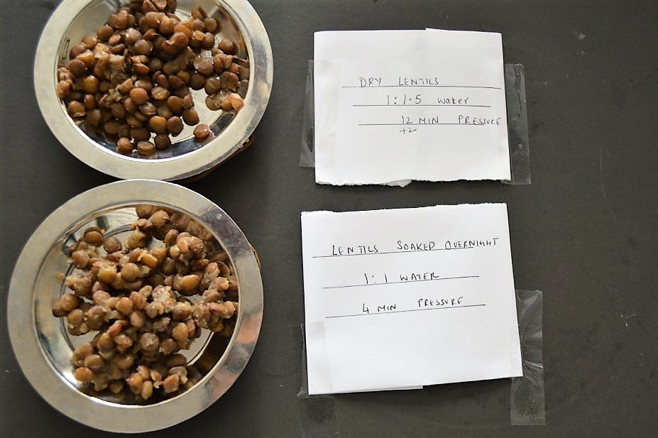 soaked vs not soaked lentils
