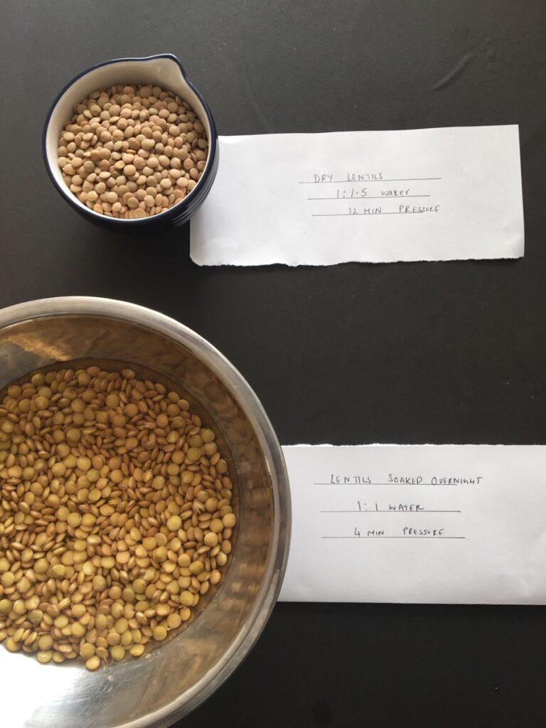 soaked vs un soaked lentils instant pot