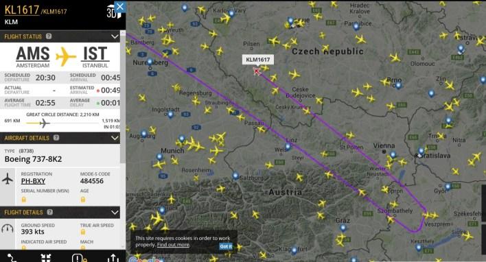 Screenshot van Flightradar24.