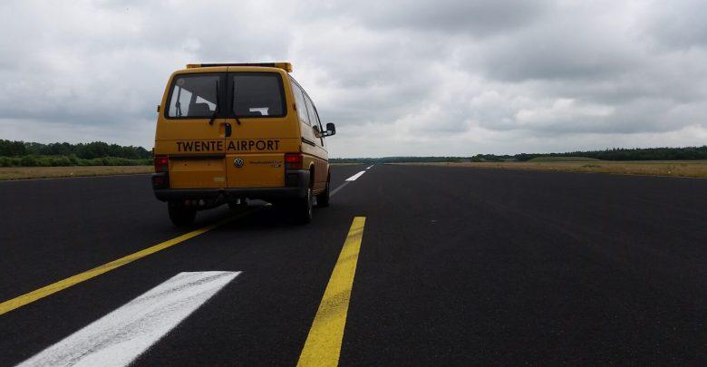 Landingsbaan op vliegveld Twente