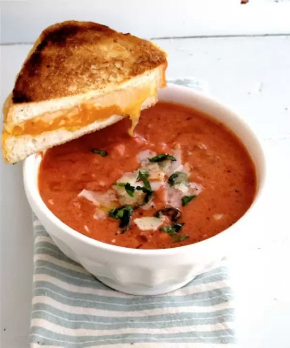 Tomato Basil Soup w/grilled cheese sandwichesby Jenny Steffens