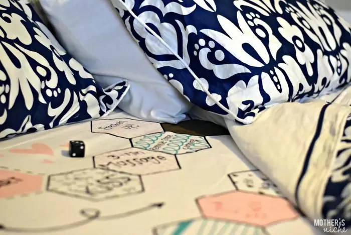 Fun date night idea! Turn your master bed into a game board!