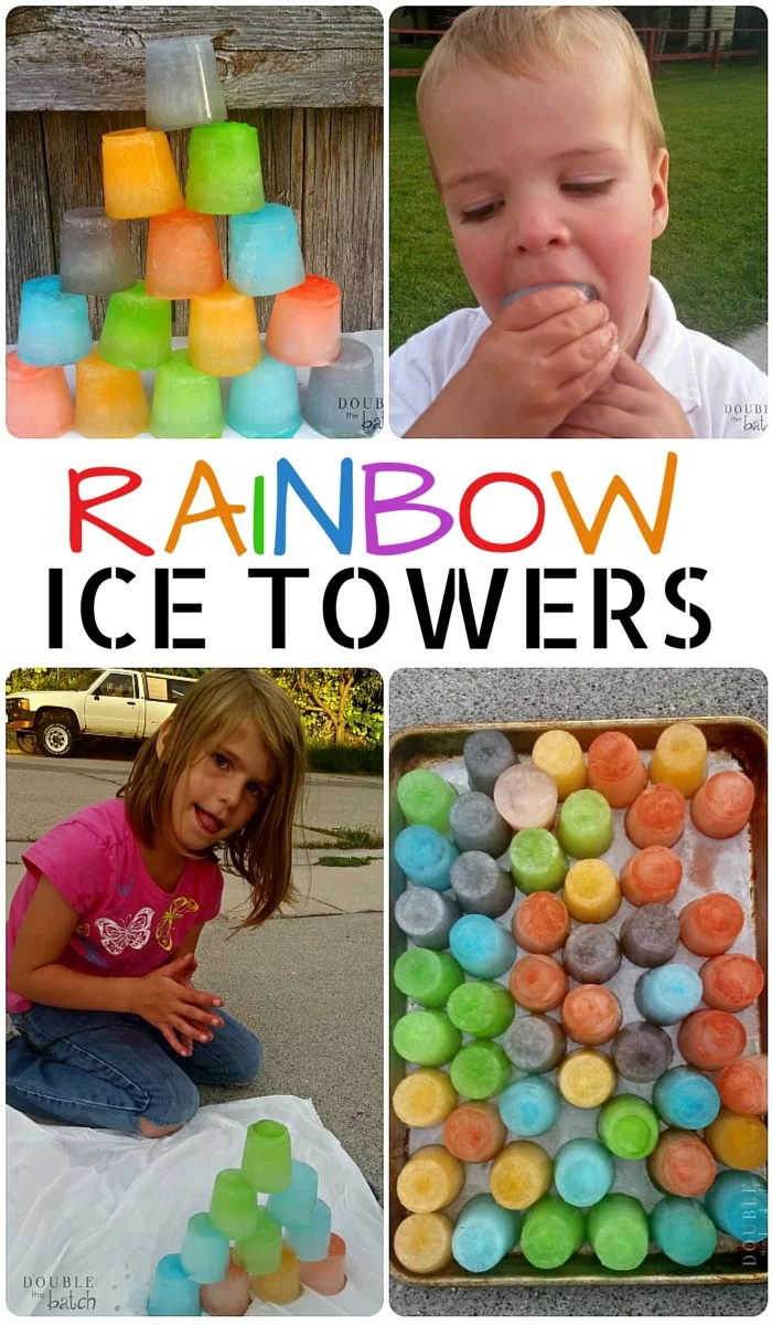 My kids absolutely loved cooling down with these Rainbow Ice Towers! Simple, Frugal, and tons of fun! Great summer activity for kids.