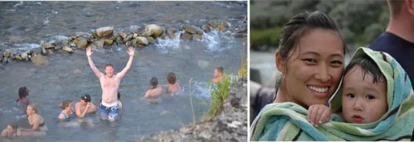 swimming, river, hot springs