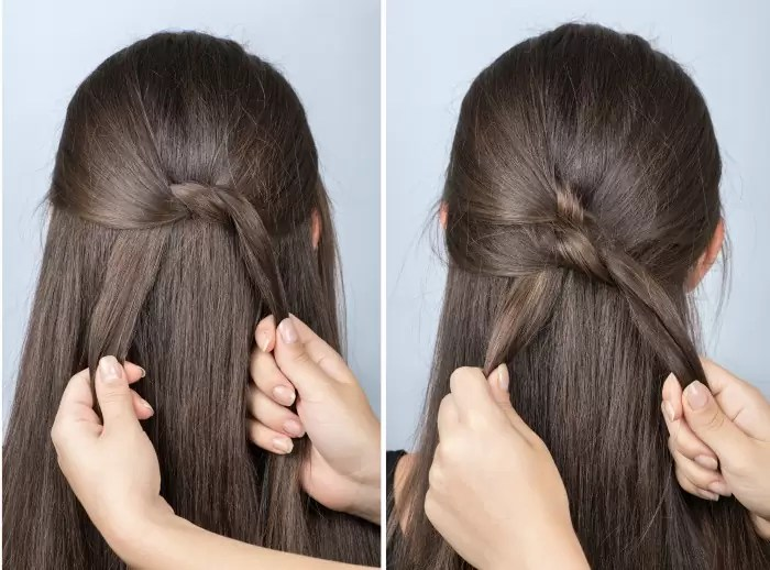 "the ""Twister"" a simple hairstyle for school"