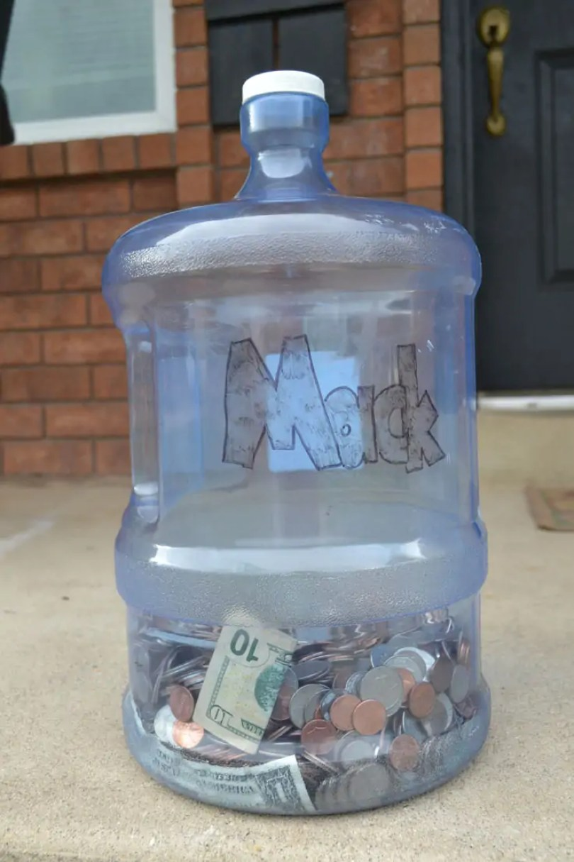 coins, water container