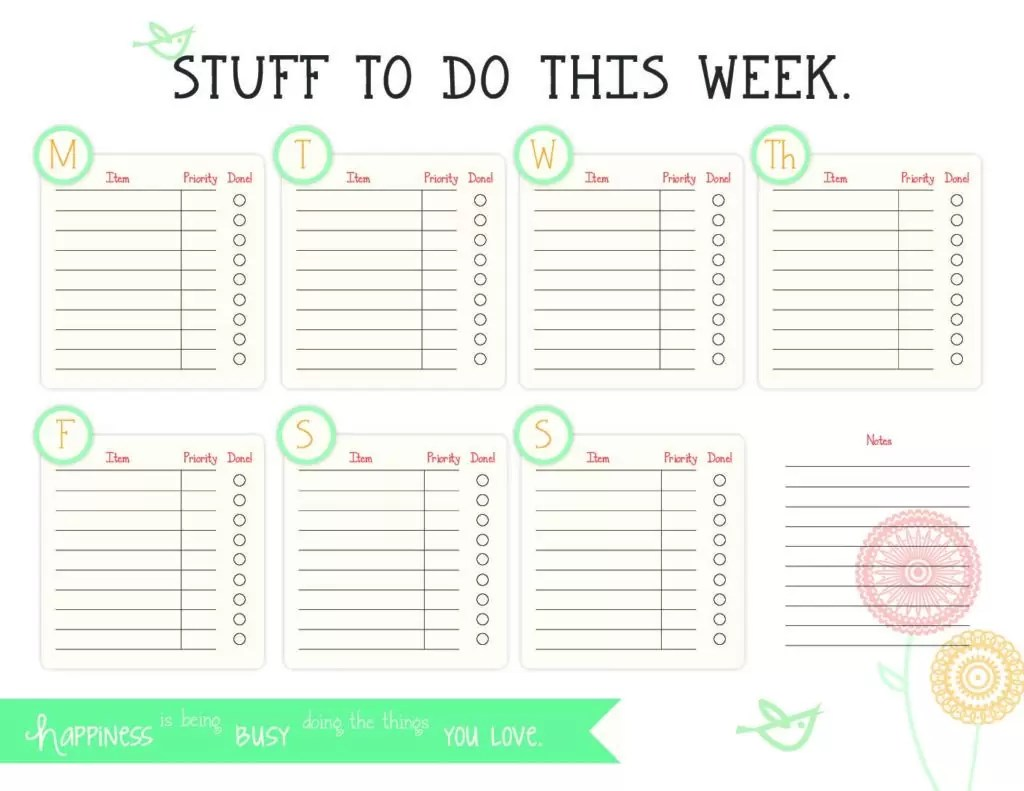 Free Weekly To Do List Printable