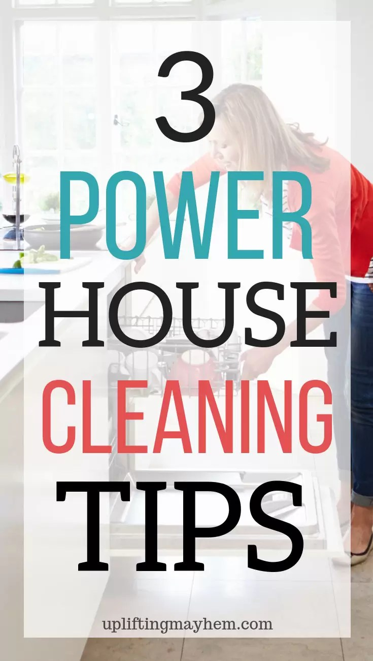 Power House Cleaning Tips that will help keep your house clean with your busy life and kids. How to stay on top of your house cleaning without spending all day cleaning! This tip will change your life!