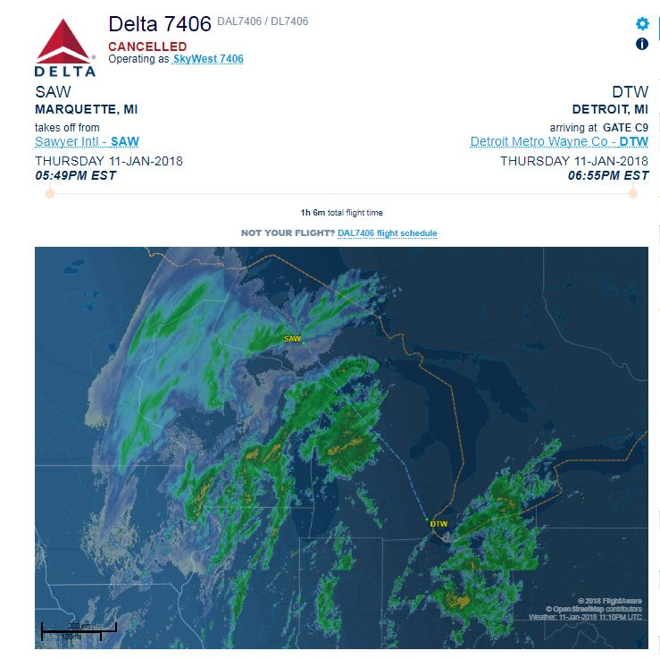 Sawyer International Airport: No flights in, out on