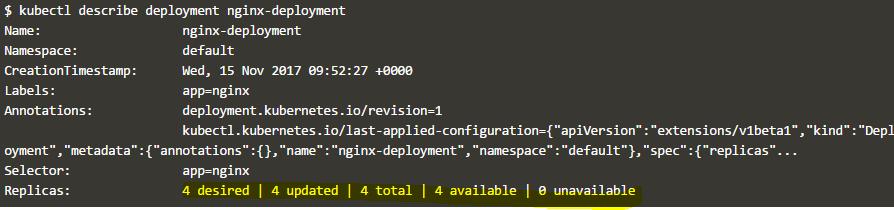 describe deployment command