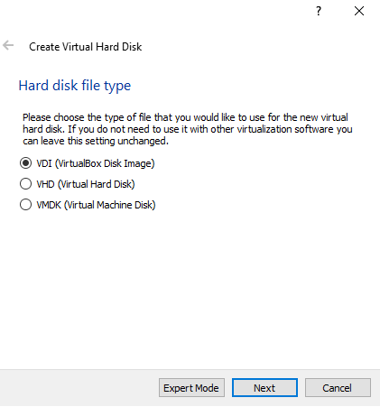 Choose Hard disk file type