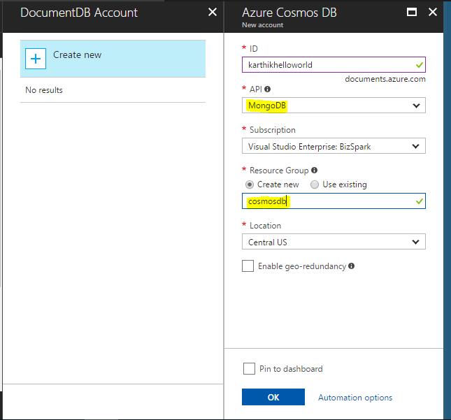 Create new Azure Cosmos DB