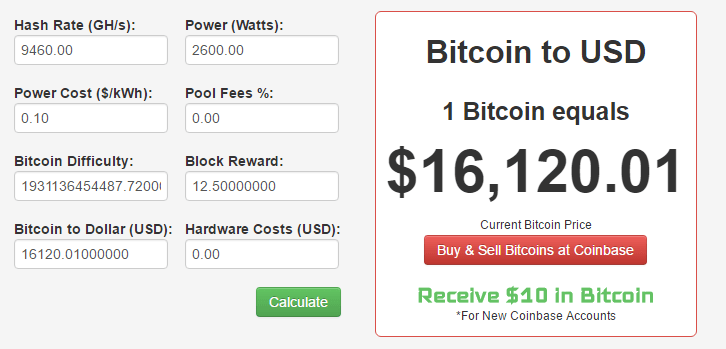 Bitcoin mining and Profitability calculator