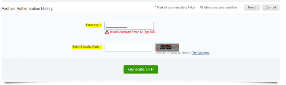 Enter UID,Security Code and click on 'Generate OTP' button