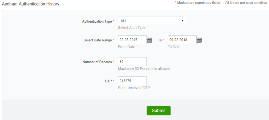 Image - Choose authentication type,date range, Number of records & OTP click on 'Submit' button