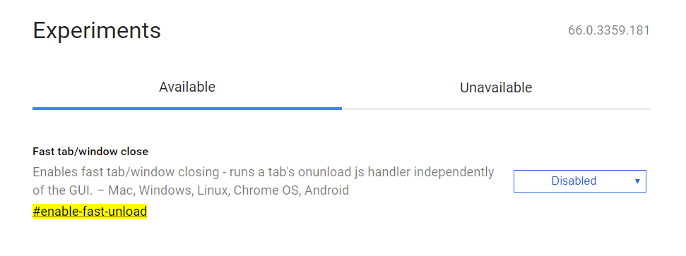 Chrome Flags / Fast Unload