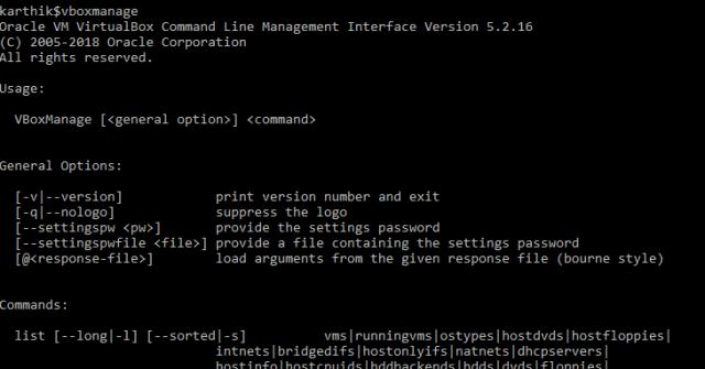 VBoxManage command