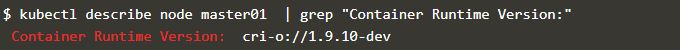 Use kubectl describe command to see the container runtime