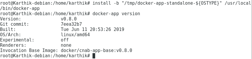 Docker App Installation Success