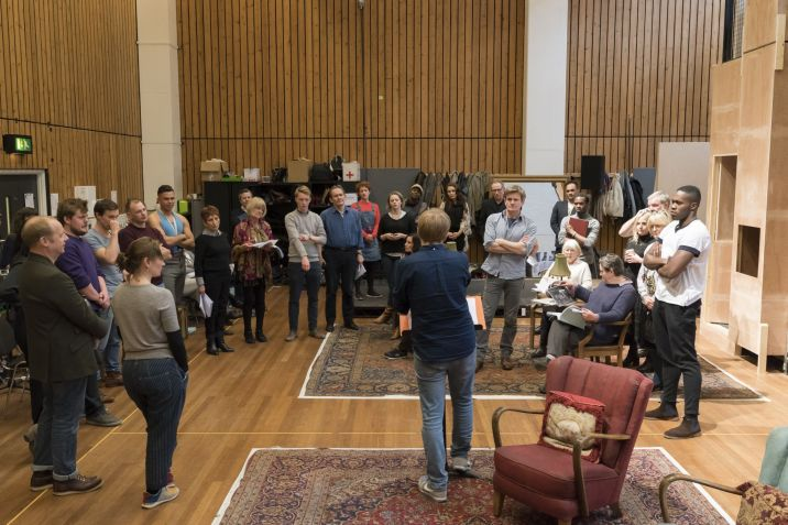 24. The company with director Joe Hill-Gibbins in rehearsal for Absolute Hell (c) Johan Persson