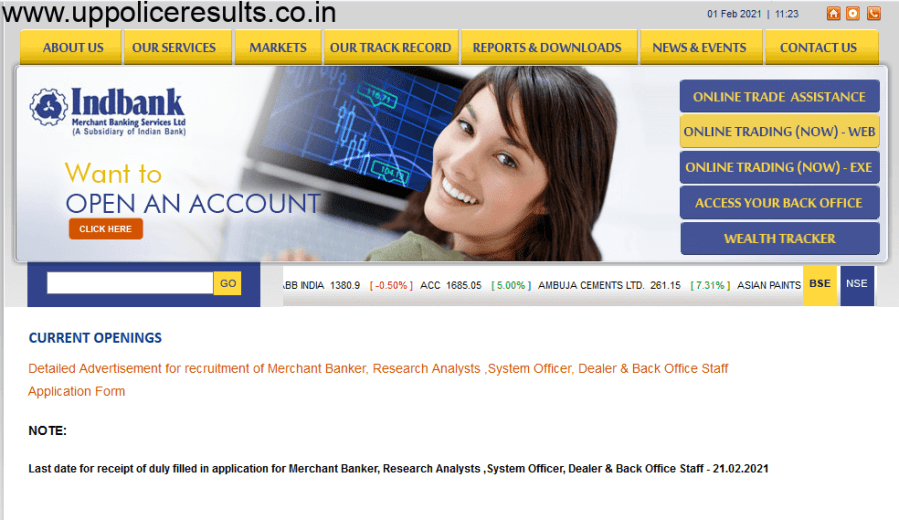 Ind Bank Recruitment 2021 for the post of SO Trainee,Officer and Other Posts