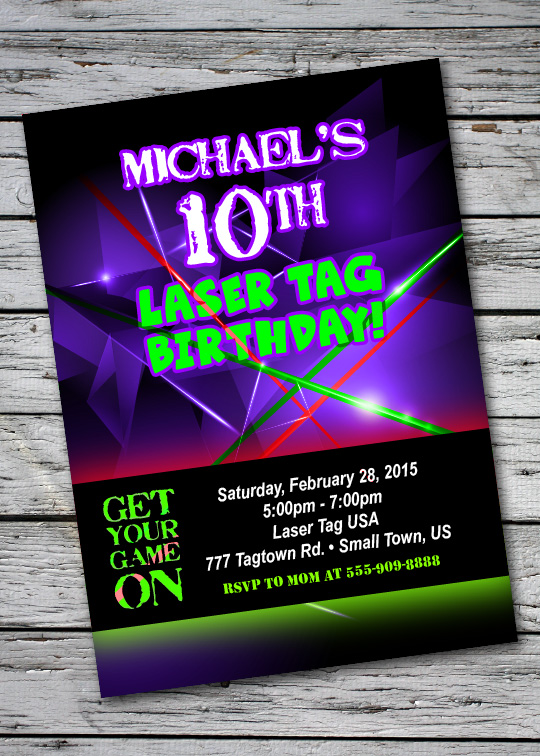 details about laser tag glow neon birthday party invitation personalized custom girl boy 13th