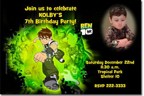 ben 10 birthday invitations candy
