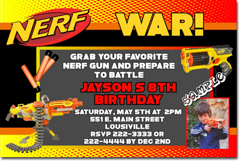 Nerf Gun Birthday Invitations Candy Wrappers Thank You
