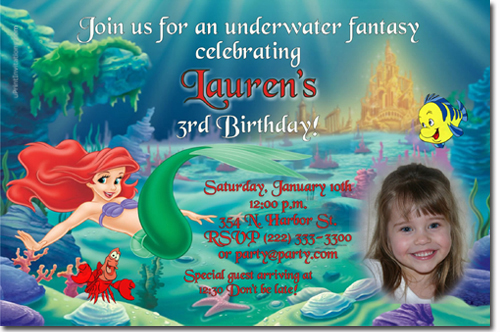 little mermaid birthday invitations
