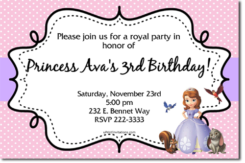 sofia the first birthday invitations