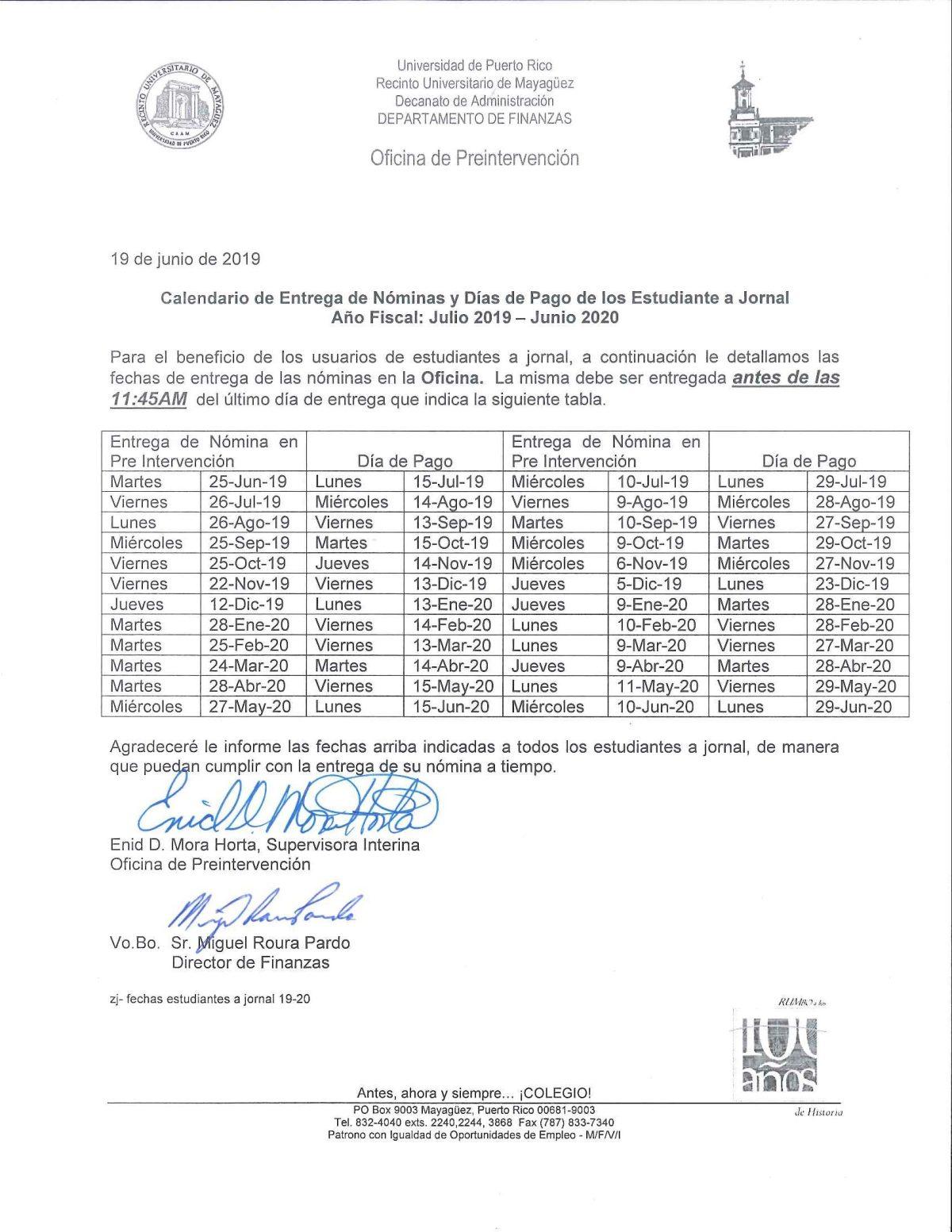Calendario De Entregas De Nomina Y Dias De Pago Julio 2019 Junio 2020 Estudiantes Jornal Decanato De Administracion