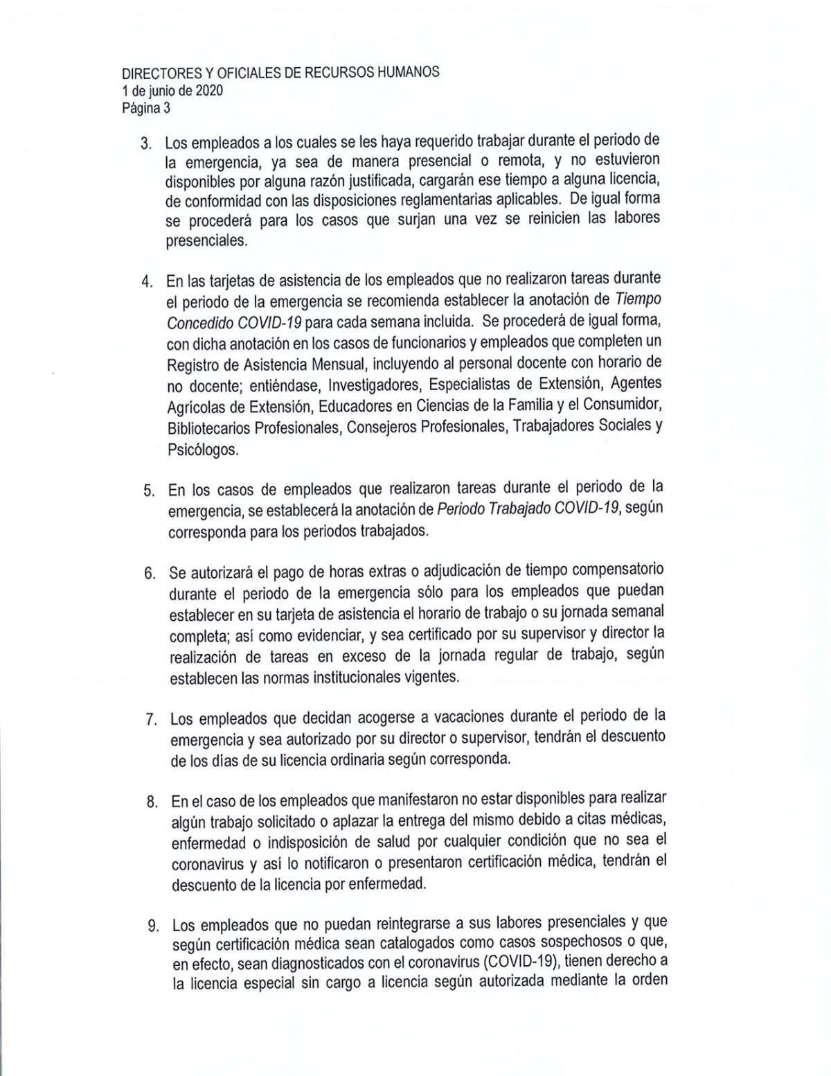 circular adm central reinicio labores presenciales UPR-3