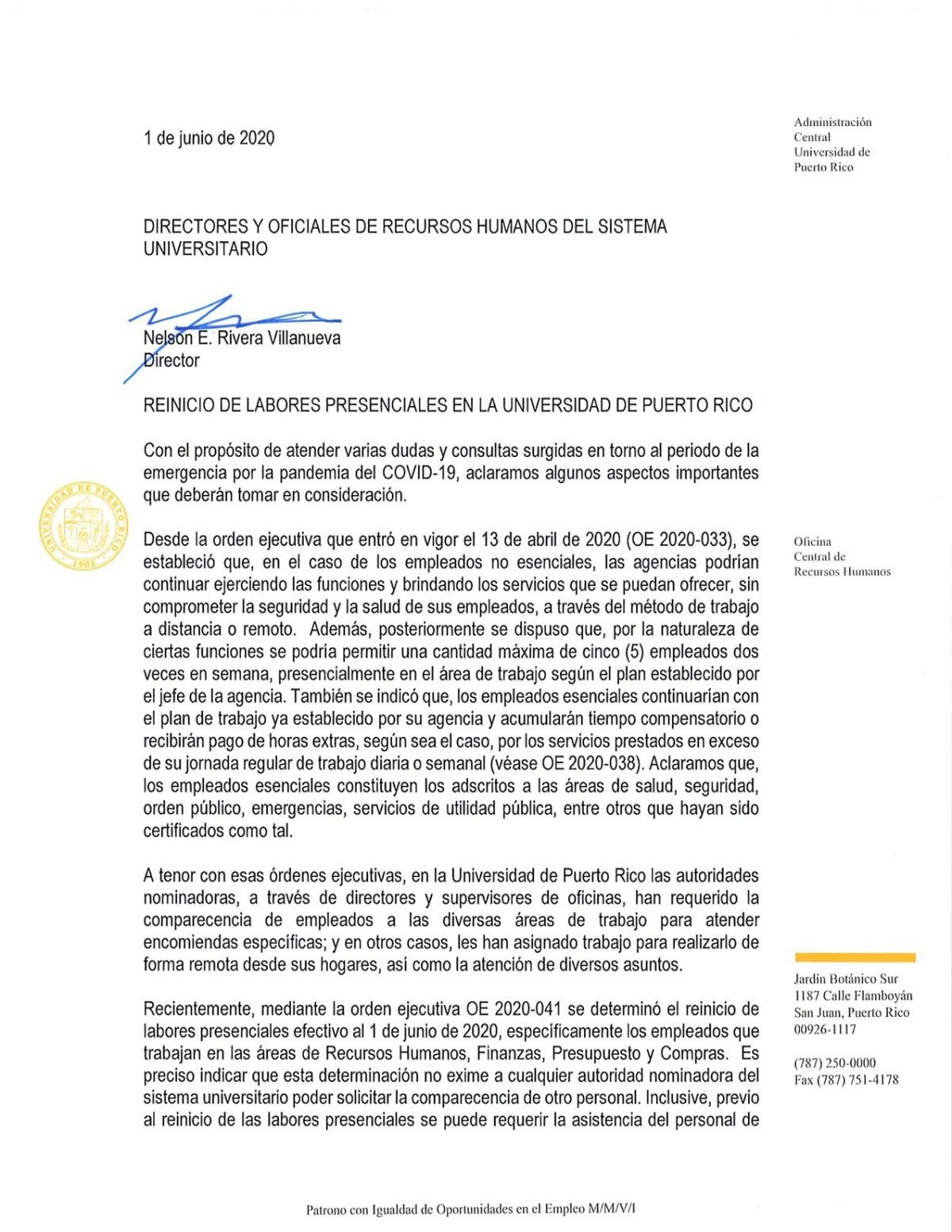 circular adm central reinicio labores presenciales UPR-1