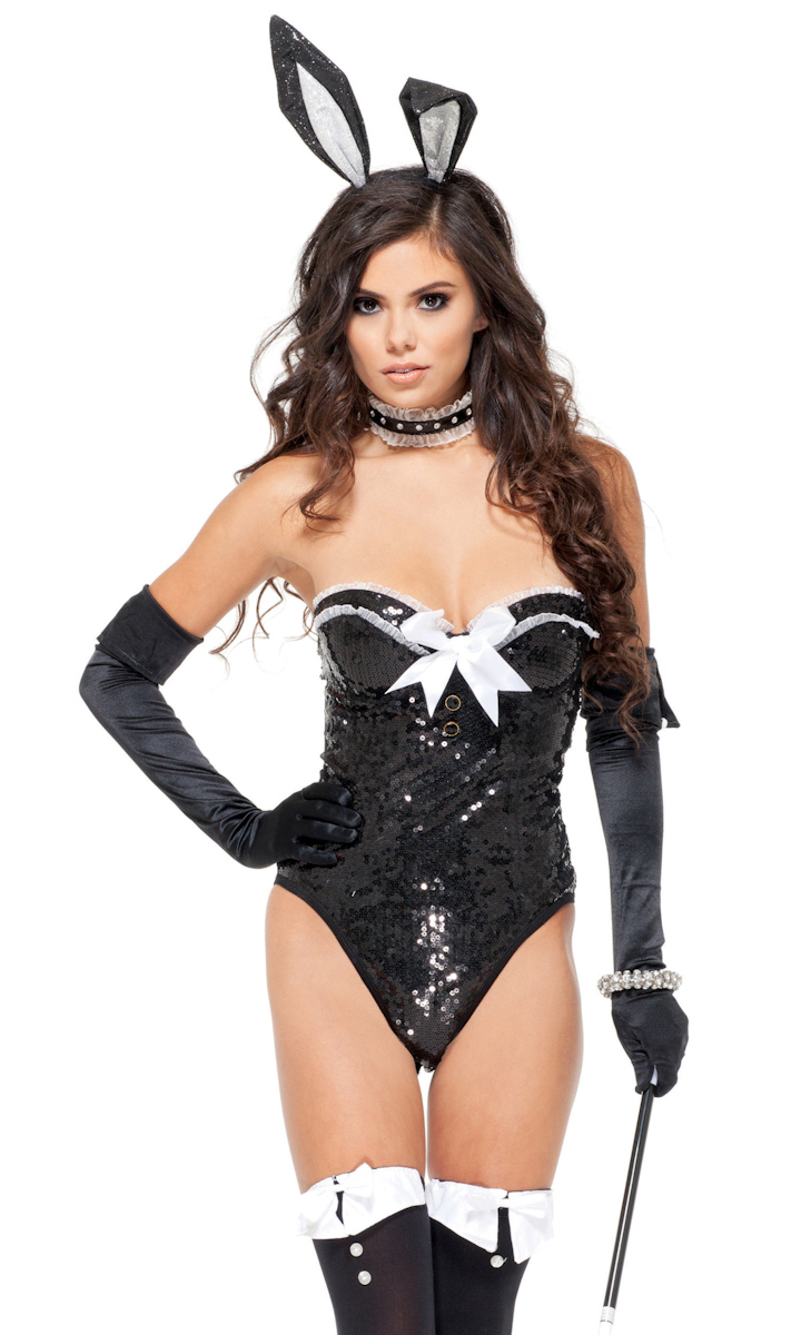 Details About Sexy Black Bodysuit Playboy Bunny Collar Costume