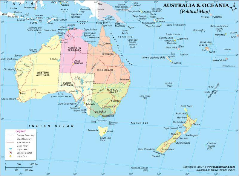 Australia Continent Countries & Capitals, Currency with Code