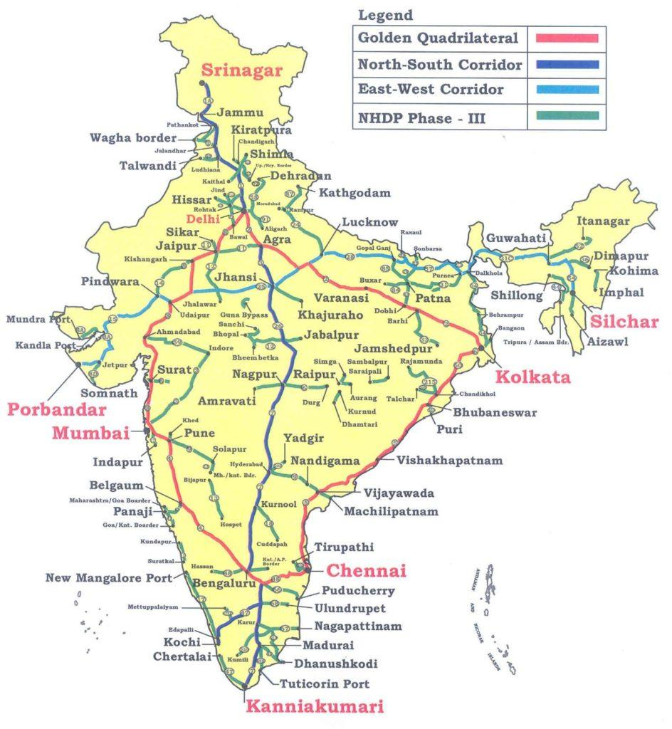 indian national highways map List Of Important National Highways Of India Upscsuccess indian national highways map