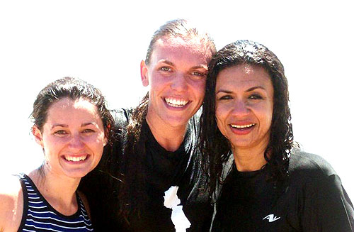 Kaitlyn and Liliana rejoice after they baptized Becky at<br /><br /> Manhattan Beach!