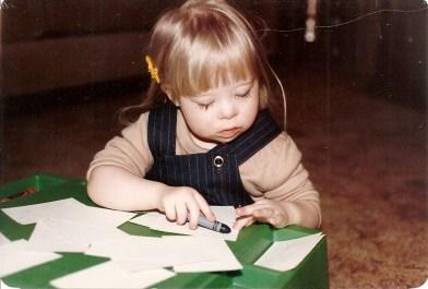 Leah writing, age 2