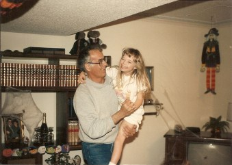 Leah being silly with Grandpa