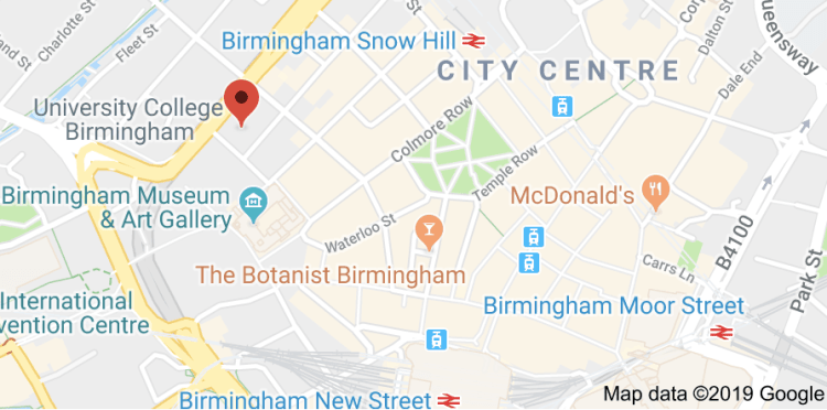 Map showing The Birmingham and Midland Institute