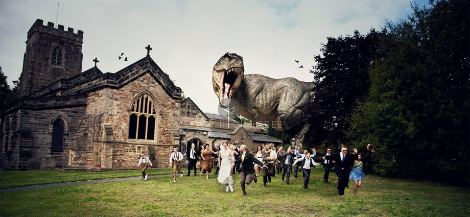 Wedding crasher - wedding dinosaur