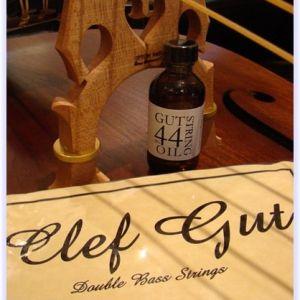 Clef Gut Jazz Bass Strings, Silver Wound E & A + Gut Oil Combo Deal