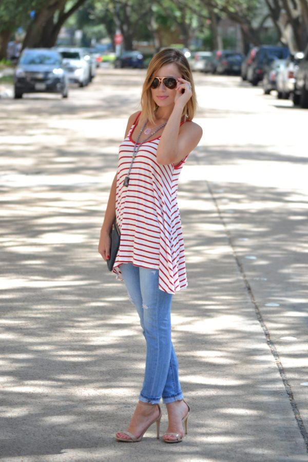 Summer Stripes Outfit with Pink Blush