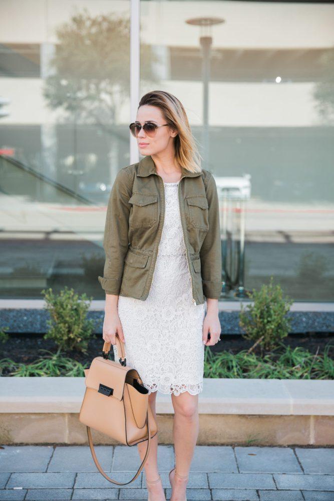 white lace dress and utility jacket
