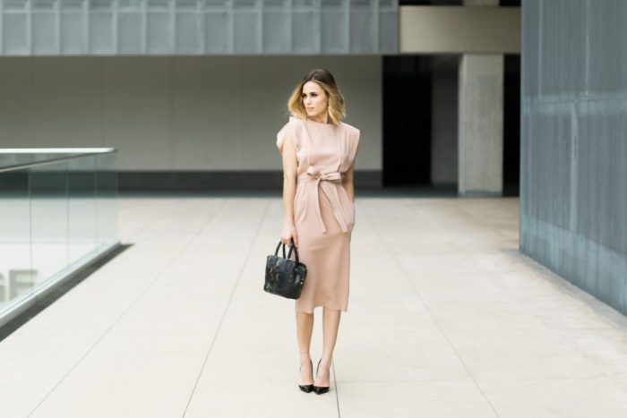 nude dress outfit