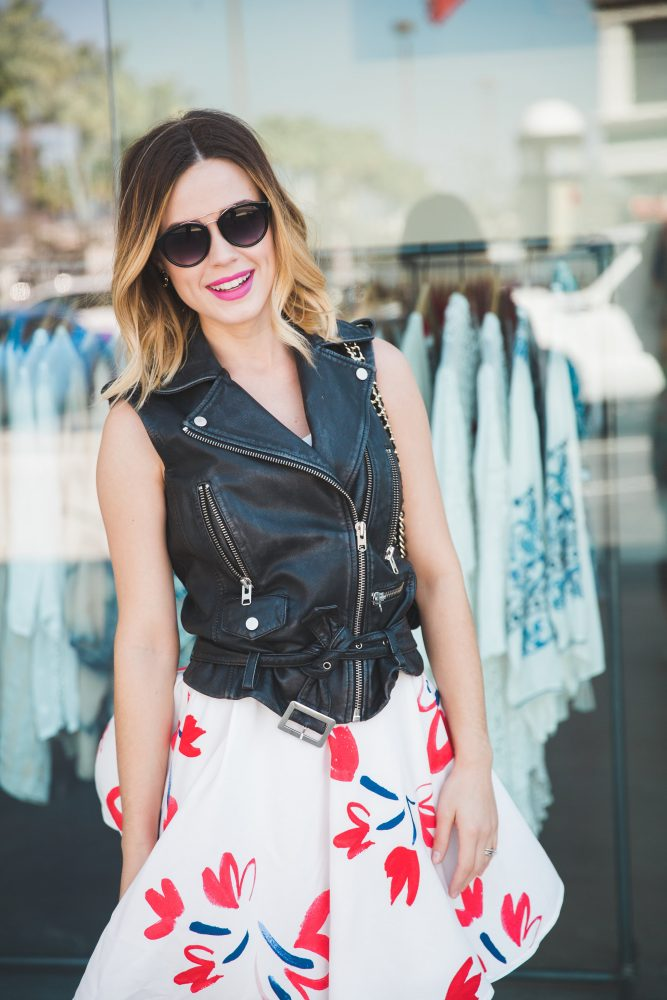 How to wear leather and floral