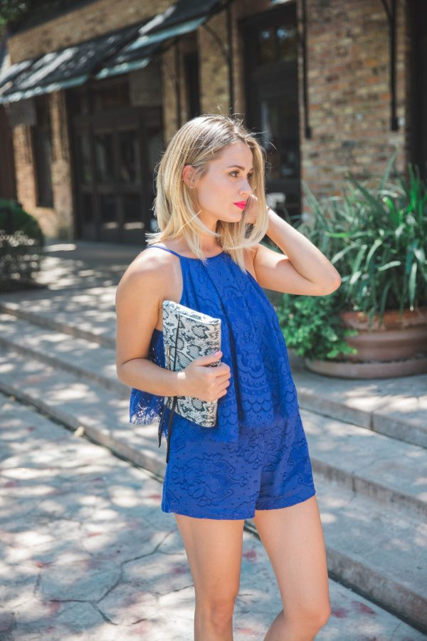 Royal blue lace romper | Blogging 101 How to grow your social following